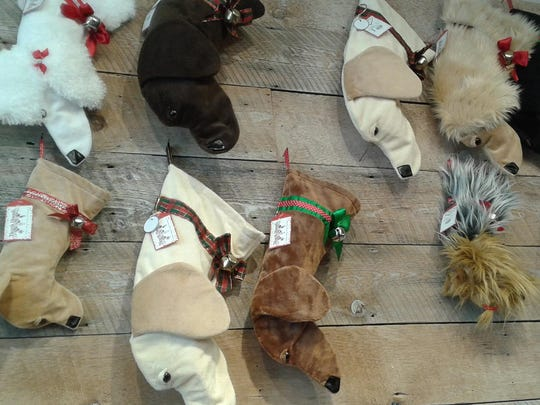 Dog-themed stockings are ready for stuffing with toys