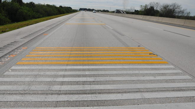 The Florida Department of Transportation has painted test stripes on I-95 near Mile Markers 194 and 198 in the northbound lands. The noise from vibrating tires is irritating some nearby homeowners.