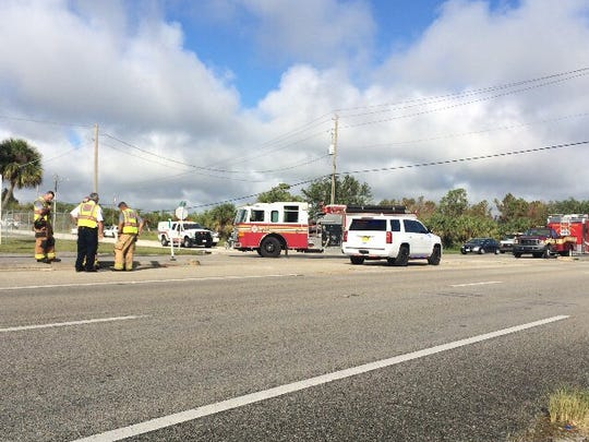 Pool chemicals spilled onto U.S. 1 in Indian River County Nov. 7, 2017.