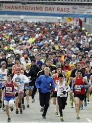 The start of the 105th annual Thanksgiving Day Race in Cincinnati.