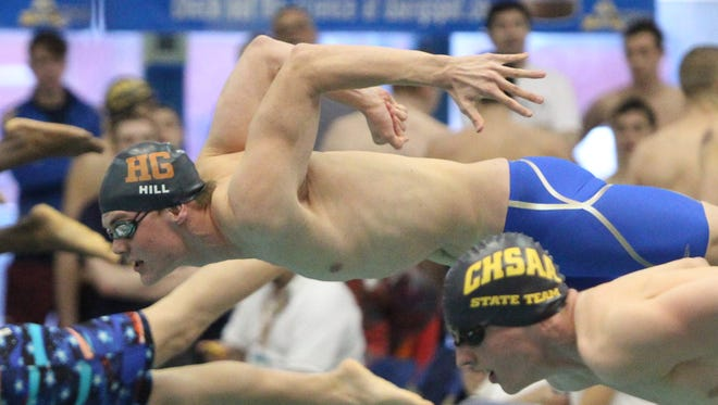 Horace Greeley's Tyler Hill, shown in Friday's preliminaries, swims in a preliminary of the 100-yard freestyle at the NY State swimming and diving championships at the Nassau Aquatic Center March 3, 2017.