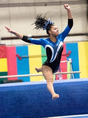 Kennedi Seals helped lead the Farmington United gymnastics team to a big victory over Canton with a second-place showing in floor exercises.