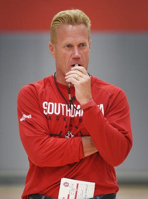 First-year USD men's basketball coach Todd Lee works out with the team at the practice court at Sanford Coyote Sports Center, Thursday, June 21, in Vermillion.