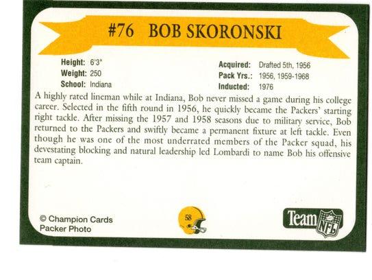 Packers Hall of Fame player Bob Skoronski