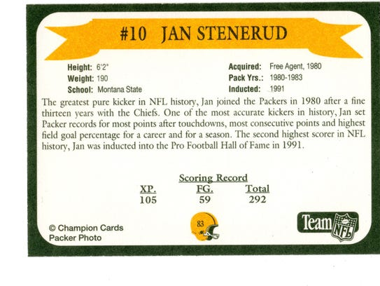 Packers Hall of Fame player Jan Stenerud