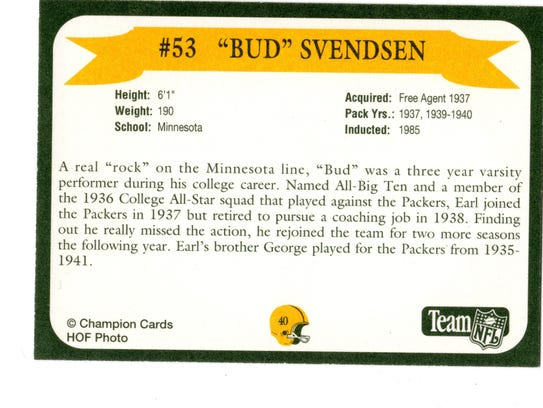 Packers Hall of Fame player Bud Svendsen