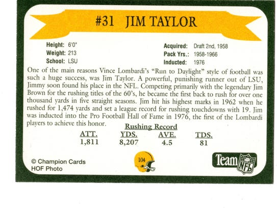 Packers Hall of Fame player Jim Taylor