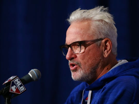 Chicago Cubs manager Joe Maddon speaks at a press conference during practice the day before game three of the 2015 NLCS at Wrigley Field.
