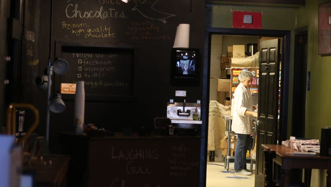 Lindsay Tarnoff, opened Laughing Gull Chocolates at the Rochester Public Market on Oct. 22.