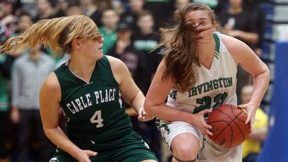 From let, Carle Place's Abigail Selhorn (4) and Irvington's