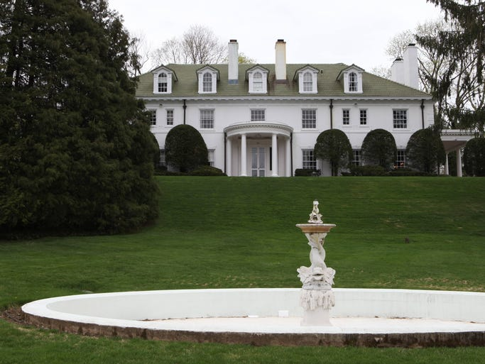 The exterior of this 1915 Center Hall Georgian Colonial in Scarsdale photographed April 18, 2013. The Scarsdale Designer Showcase home will be part of a fundraiser for Cerebral Palsy.