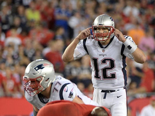 New England Patriots quarterback Tom Brady (12) calls out a signal during the second half of an NFL football game against the Tampa Bay Buccaneers Thursday, Oct. 5, 2017, in Tampa, Fla. The Patriots won 19-14. (AP Photo/Phelan M. Ebenhack)