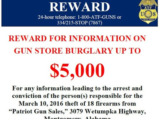 Eighteen guns were stolen from Patriot Gun Sales on