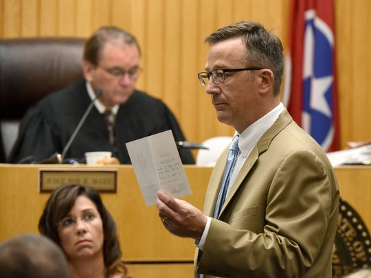 Defense attorney Wesley Stone during closing arguments in the trial of William Riley Gaul Tuesday, May 8, 2018. Gaul, a former Maryville College football player, is charged in the 2016 shooting death of his 16-year-old ex-girlfriend Emma Jane Walker.