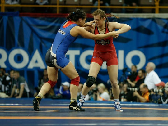 Iowa native Rachel Watters, right, is currently ranked second nationally at 170 pounds by Intermat. She is pictured here wrestling at the Olympic Trials in 2016.