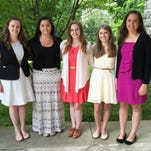 Rachel Sullivan, left to right, Melanie Mold, Heather Ketchum, Sandra Spicer and Nicolette Smith were each awarded scholarships from Pawling's Akin Hall Association.