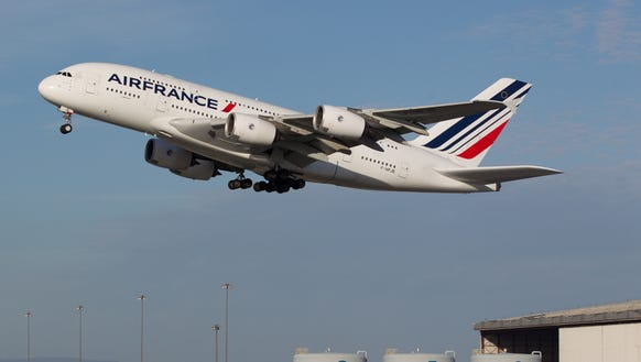An Air France Airbus A380 begins the long journey to
