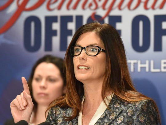 Pennsylvania Attorney General Kathleen Kane speaks about the 147-page report on sexual abuse in the Altoona-Johnstown Diocese was made public at a news conference, Tuesday, March 1, 2015 in Altoona, Pa. Kane says none of the alleged criminal acts can be prosecuted because some abusers have died, statutes of limitations have run their course and victims are too traumatized to testify.