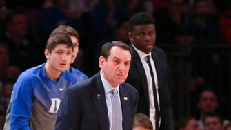Duke Blue Devils head coach Mike Krzyzewski reacts during the first half against the St. John's Red Storm at Madison Square Garden.