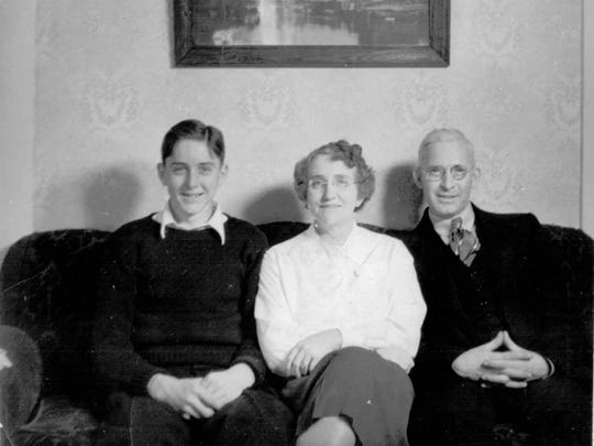 Edwin Hopkins with his parents Alice and Frank.