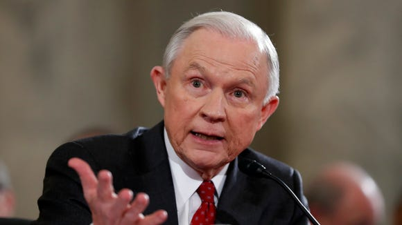 Sen. Jeff Sessions, Trump's nominee for attorney general, testifies on Jan. 10, 2017, on Capitol Hill.