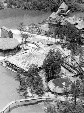 1974: Aerial photo shows at the top right the fort for Runaway Mine Train roller coaster, square building at the left shows Best of the West restaurant and the flume ride at the left. The Super Teepee merchandise store is also visible.