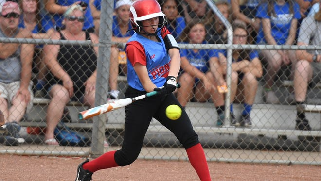 Gibson County's Jaci White takes a swing at a pitch during game three of the TSSAA Class A State Girls' Softball tournament, Tuesday, May 22. Gibson County fell to Unaka, 3-0.