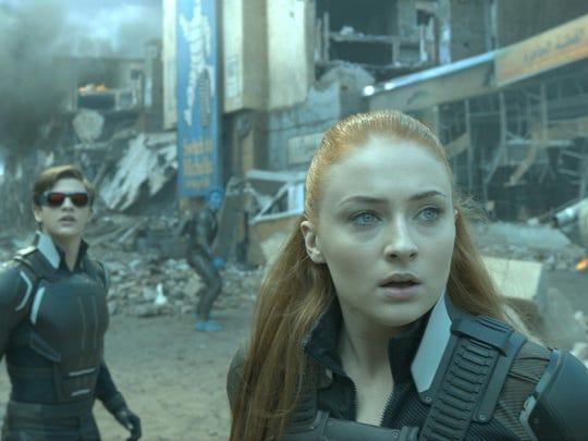 "Cyclops (Tye Sheridan) and Jean (Sophie Turner) battle bad guys in ""X-Men Apocalypse."""