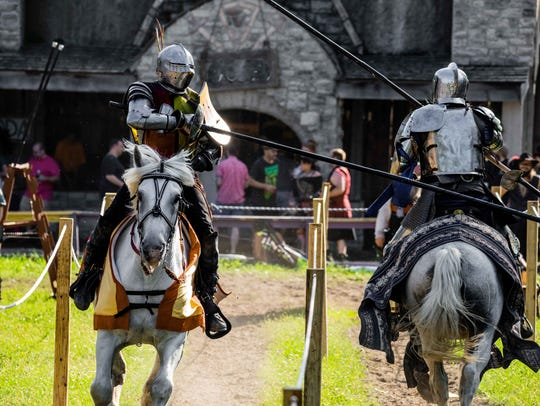 Full-contact armored jousting is a popular part of