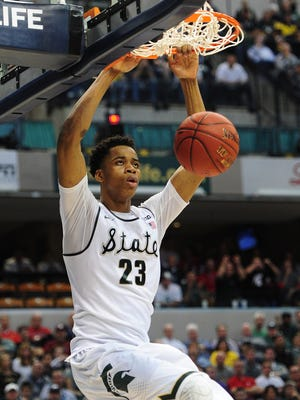 Michigan State Spartans forward Deyonta Davis (23) could be a top pick in the upcoming NBA draft.