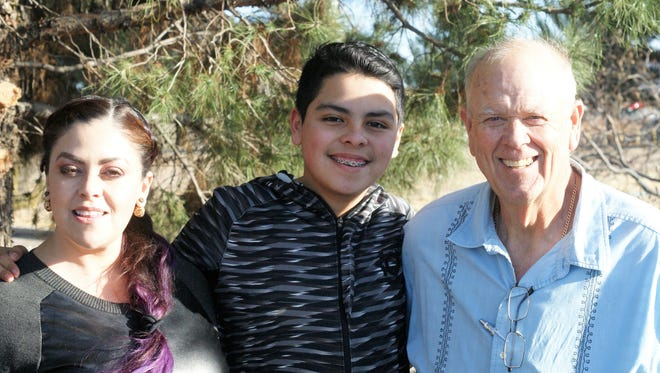 Philip Skinner, right, posed with his wife Diana and son Matthew during a stop in Deming this week.
