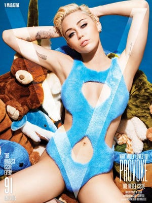 """Miley Cyrus on the cover of """"V"""" magazine."""