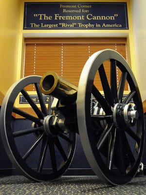 The Fremont Cannon sits at the Cashell Fieldhouse on Nevada's campus. Nevada and UNLV will play for the cannon Saturday.