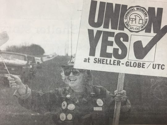 Janet Brumfield, shown here, gathered with local and out-of-state Union representatives to rally support to form a Union at the Sheller-Globe plant in March 1990.