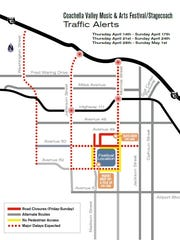 Road closures and alternate routes for Coachella Valley Music and Arts Festival.