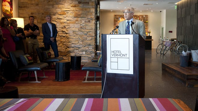 Dr. Harry Chen, Commissioner of the Vermont Department of Health, announces that new tobacco restrictions on second-hand smoke will go into effect July 1st during a news conference at Hotel Vermont in Burlington on Friday June 27, 2014.