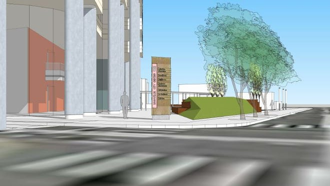 A view from Sixth Avenue of upgrades to the plaza outside Nashville City Center.