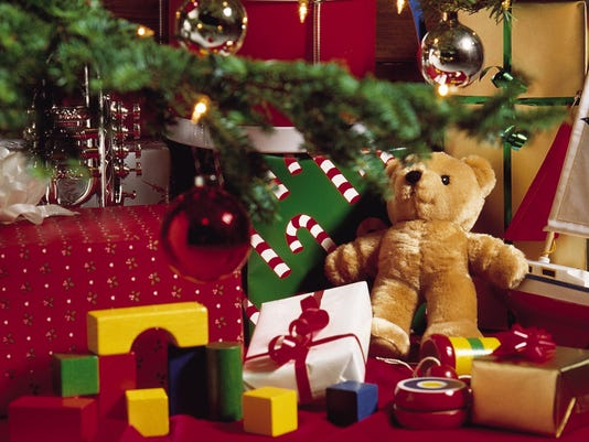 Christmas gifts and toys around the tree