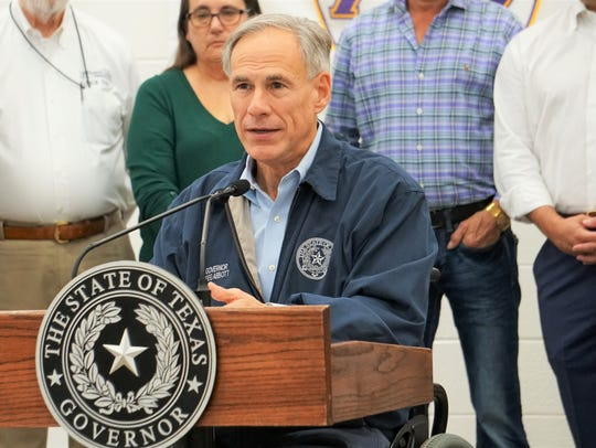 Gov. Greg Abbott speaks at A.C. Blunt Middle School