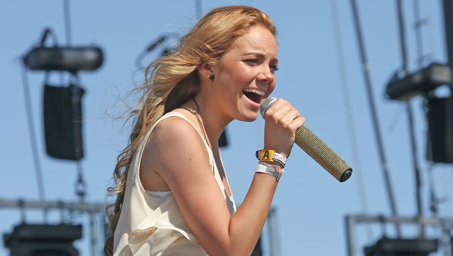 Danielle Bradbery performs Saturday on the Mane Stage at the Stagecoach country music festival.