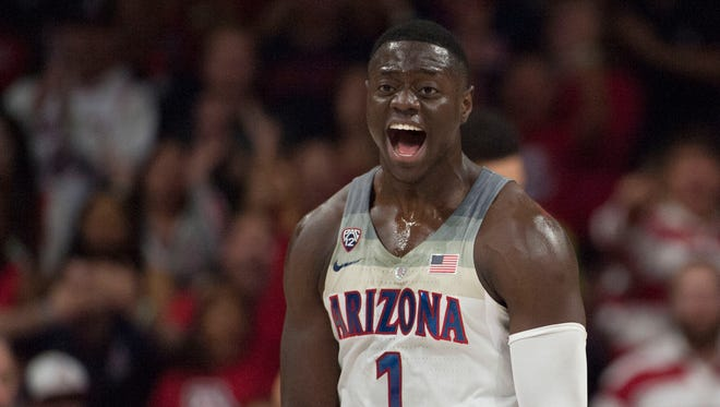 Nov 15, 2016: Arizona Wildcats guard Rawle Alkins (1) celebrates during the first half against the Cal State Bakersfield Roadrunners at McKale Center.