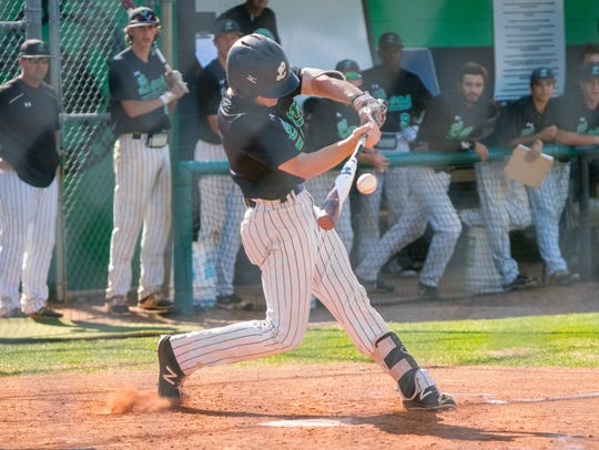 Lafayette High's Chris Battaglia connects with the