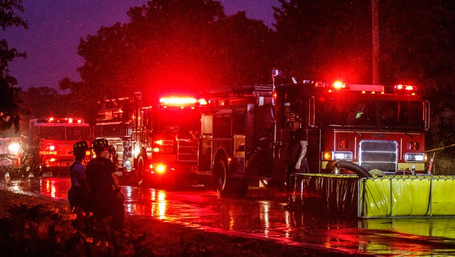 Multiple fire departments responded to the scene of a fatal house fire near North Prairie on Monday night, June 18, 2018.