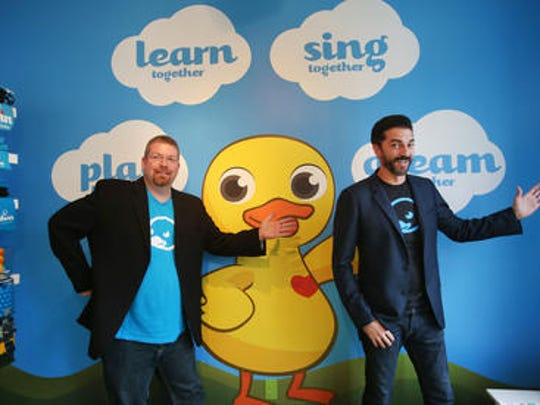 CEO and Co-founder Matt MacBeth (left) and President and Co-founder Don Inmon, 43, are shown in the Carmel headquarters of pi lab, the company that produces the innovative, education-centered rubber duckie toy.
