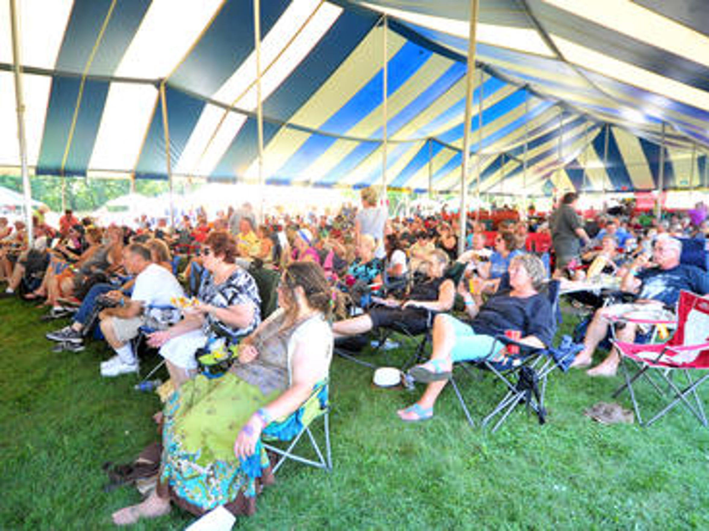 Patrons listen to Jimmi and the Band of Souls during the 2015 Big Bull Falls Blues Fest at Fern Island in Wausau.