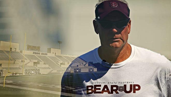 Coach Dave Steckel leads his team during practice at Robert W. Plaster Stadium in Springfield, Mo. on Aug. 25, 2015.