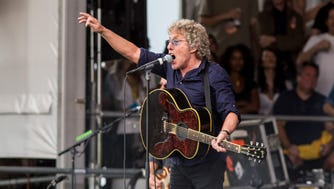 The Who's lead singer Roger Daltrey performs during the band's set on Saturday April 25 at the 2015 New Orleans Jazz & Heritage Festival in New Orleans, Louisiana.