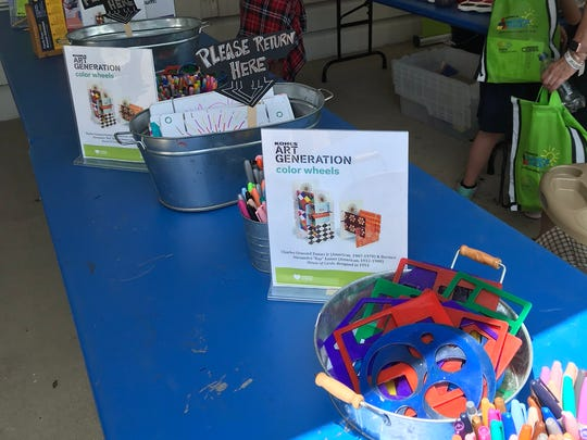 There are several different art projects for kids to do at the Kohl's Captivation Station.