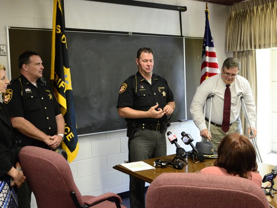 Sandusky County Sheriff Chris Hilton announces the arrest of Daniel Myers, 48, of Green Creek Township, on charges of aggravated murder, aggravated robbery and kidnapping in the slaying of Heather Bogle.