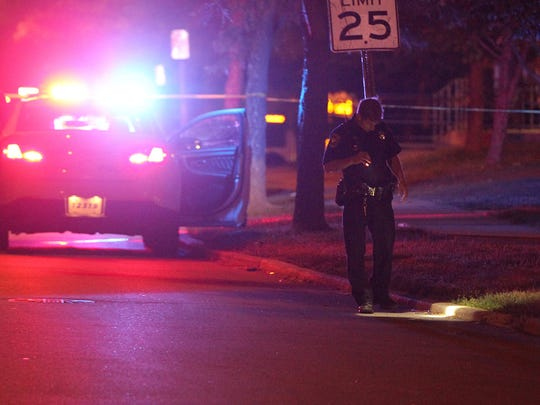 A 19-year-old man was shot once at about 10 p.m. near